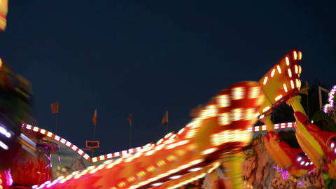 funfair oktoberfest carousel lights 11064 Stock Video Footage