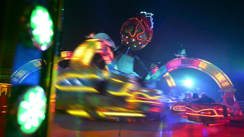 funfair oktoberfest carousel twisting 11066 Stock Video Footage