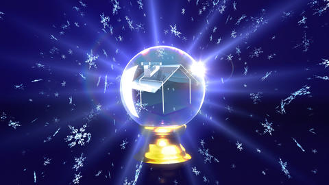 snow falling in crystal ball future house Animation