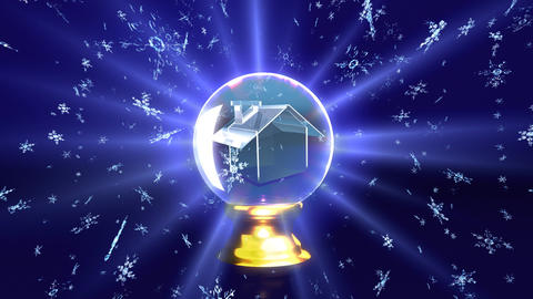 snow falling in crystal ball future house Stock Video Footage