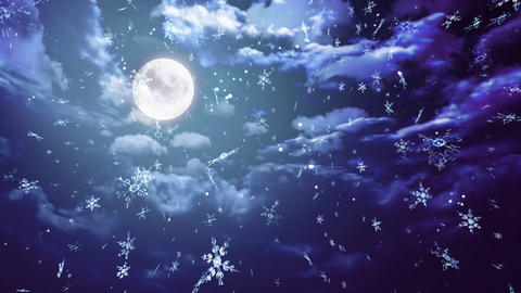 blue moon and snow wide Stock Video Footage