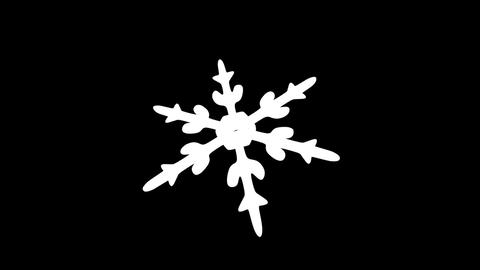 Snow Crystals single front alpha Stock Video Footage