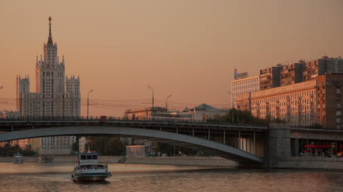 Kosmodamianskaya embankment walk hyperlapse Stock Video Footage