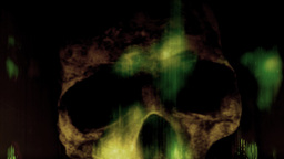 Animation Skull between flames Stock Video Footage