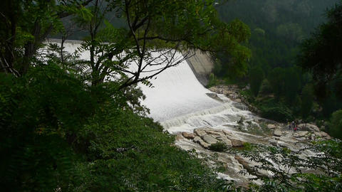 Torrential waterfall & spray from dam,Mountain Tai-shan Animation