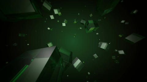 green cube space Stock Video Footage