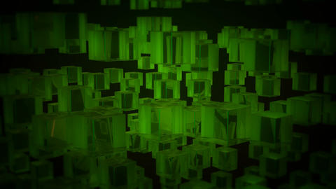spin green boxes Stock Video Footage