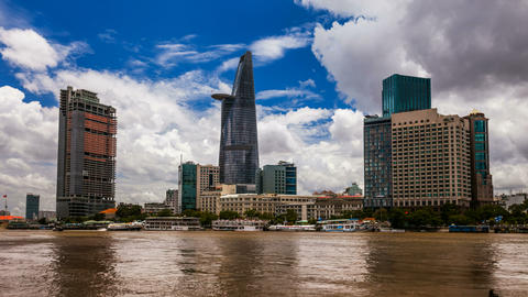 4K - CITY SKYLINE - Ho CHi Minh City, VIETNAM Time Stock Video Footage