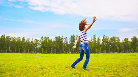 Teens running through the meadow Stock Video Footage