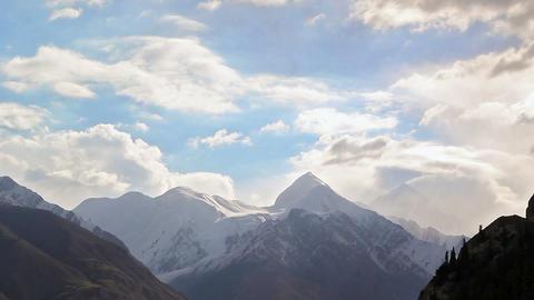 Clouds over peak Battleship (Bronenosec). Kirgysta Stock Video Footage