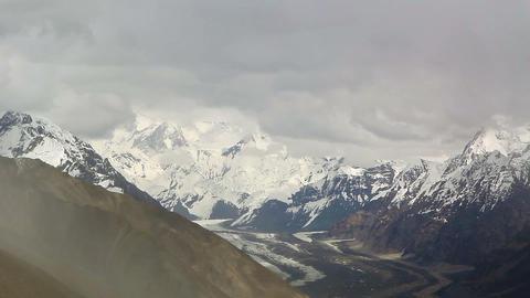 Clouds over glacier Inylchek. Kirgystan, central T Stock Video Footage