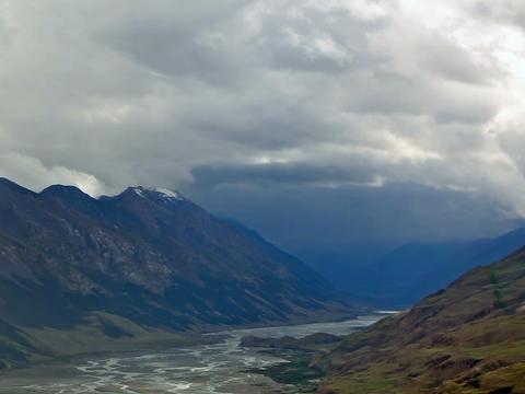 Clouds Valley Inylchek. Kirgystan, central Tien Sh Stock Video Footage