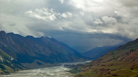 Clouds Valley Inylchek. Kirgystan, central Tien Sh Footage