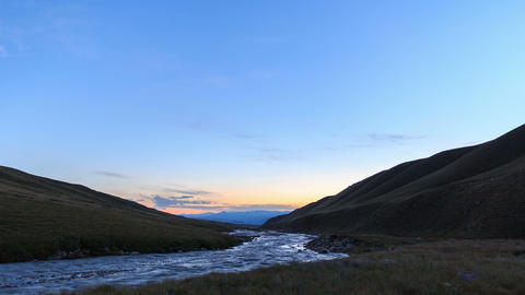 Sunset in the mountains. River Valley Tuz. 4K Stock Video Footage