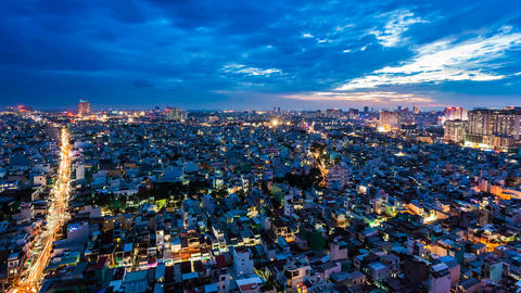 1080 - HO CHI MINH CITY SKYLINE - ZOOM TIMELAPSE Stock Video Footage