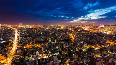 1080 - HO CHI MINH CITY SKYLINE - ZOOM TIMELAPSE Footage