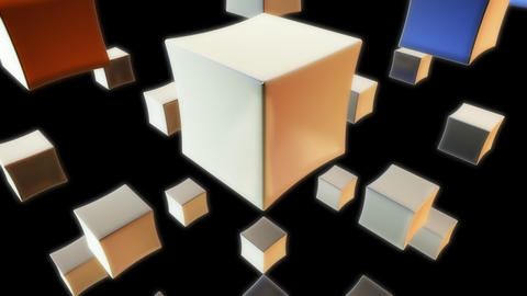 white cube with alpha Stock Video Footage