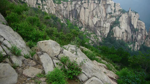 Mountain Tai-shan cliff in China Stock Video Footage