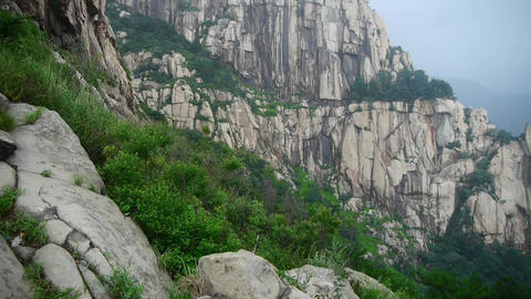 Mountain Tai-shan cliff in China Animation