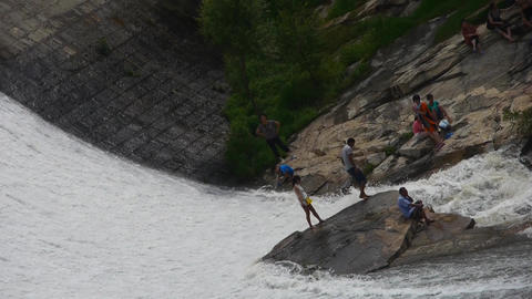 Torrential waterfall & spindrift running cover,people... Stock Video Footage