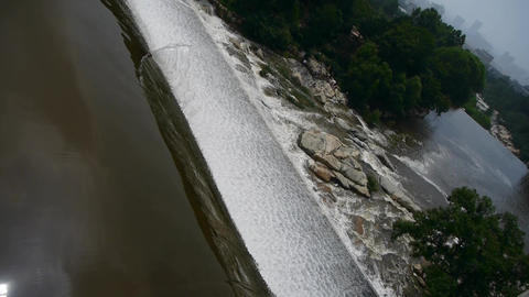 top view of waterfall & spray from dam,Mountain Tai-shan Animation