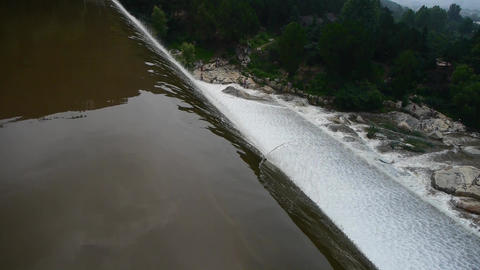 top view of waterfall & spray from dam,Mountain Tai-shan Stock Video Footage