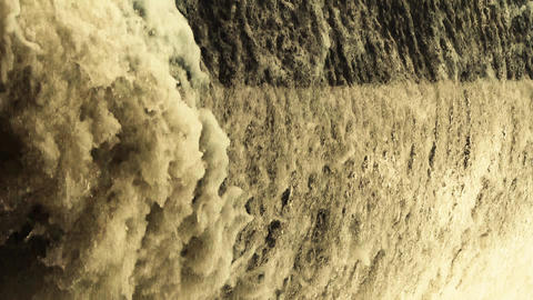 flood discharge,torrential waterfall running Stock Video Footage