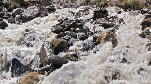 White mountain river. Slow-motion Footage