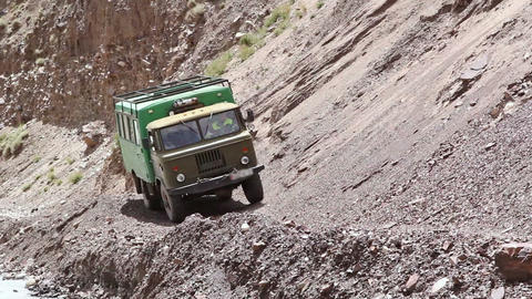 Truck on a dangerous mountain road Footage