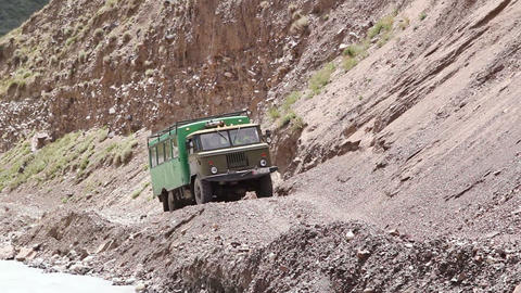 Truck on a dangerous mountain road Stock Video Footage