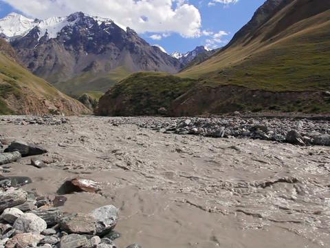 White mountain river Atdzhaylyau Stock Video Footage