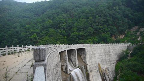 Torrential waterfall & spray from dam,Mountain Tai-shan Animation
