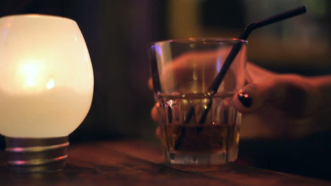 Whiskey with ice Stock Video Footage