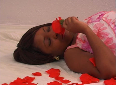 Beautiful Woman Lying Amidst Rose Petals (2) Stock Video Footage
