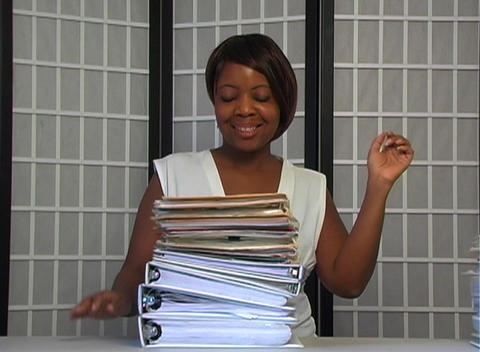 Beautiful Businesswoman Completes Her Work Stock Video Footage