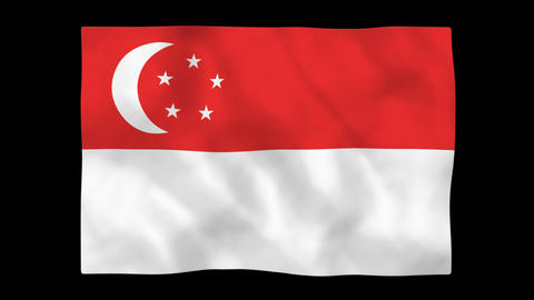 National flag A44 SIN HD Stock Video Footage