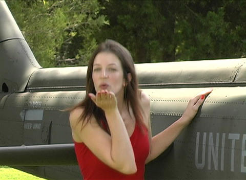 Sexy Woman at Military Helicopter Footage