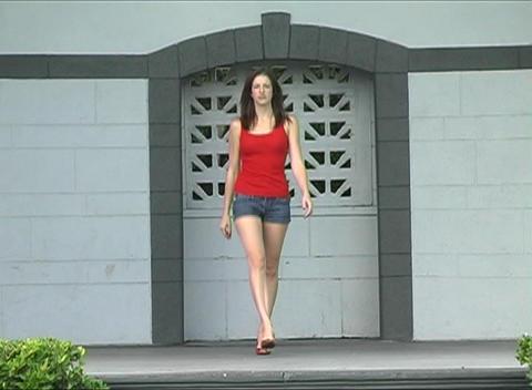 Beautiful Brunette Walking Onstage Stock Video Footage