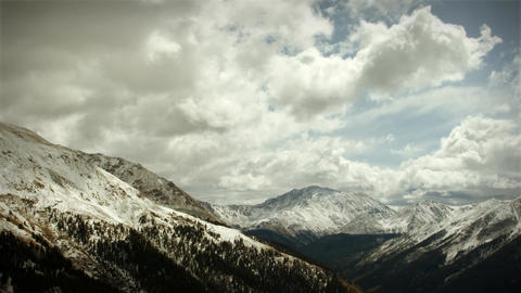 (1120) Early Snow Storm Mountain Pass Colorado, LOOPING! Stock Video Footage
