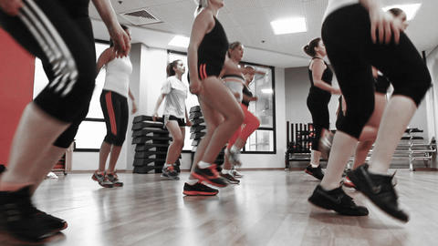 Fitness dance Women Practicing in Health Club well Stock Video Footage