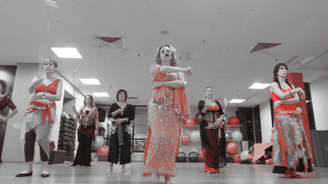 Belly Dancing women Class group dance in front of Footage