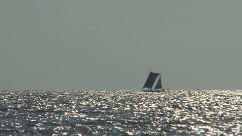Tradional Srilankan boat near the coast of Negombo Stock Video Footage