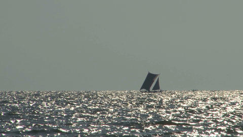 Tradional Srilankan boat near the coast of Negombo Stock Video Footage