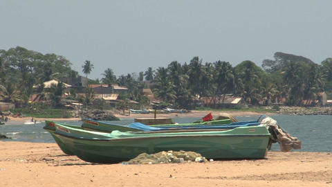 Boats on the beach Stock Video Footage