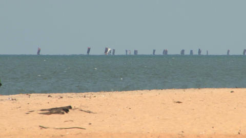 Kids walking on the beach Stock Video Footage