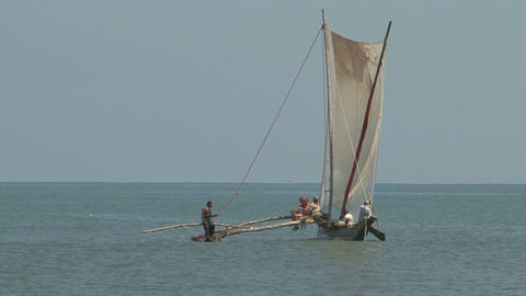Sri Lanka Sailboat Stock Video Footage