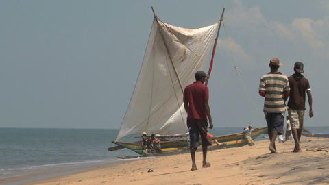 Sailboat on the beach Stock Video Footage