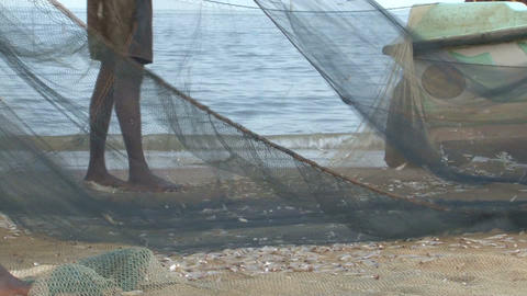 Fishers on the beach Sri Lanka Stock Video Footage