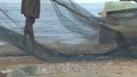 Fishers on the beach Sri Lanka Footage