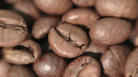 Roasted coffee beans. Soft focus Live Action